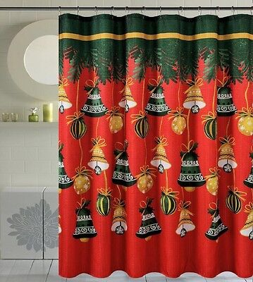 Seasons Greetings 13 Piece Waffle Fabric shower curtain Jingel Bells