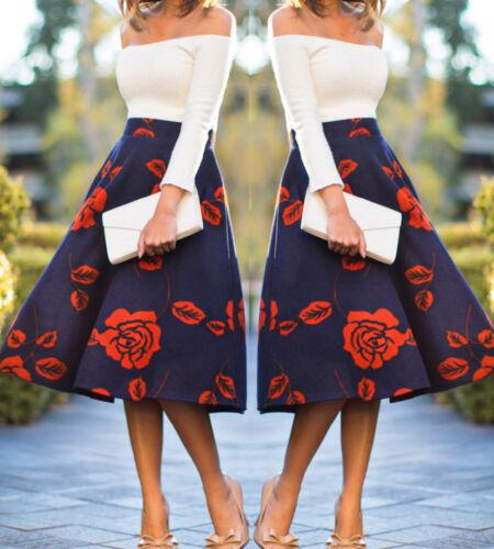5f4d1ef64e chic Ladies Girls Skirts Women s Winter Flared Floral Long Skater Skirt UK  8-14