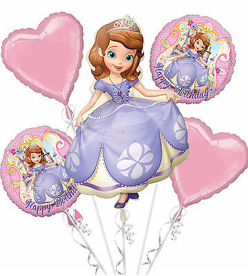 Disney SOFIA THE FIRST Happy Birthday Balloon Bouquet Party Decoration Supplies - Sofia Balloons
