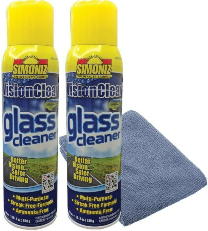 Simoniz Vision Clear Glass Cleaner Streak Free (2-pack) 19oz + Microfiber Cloth