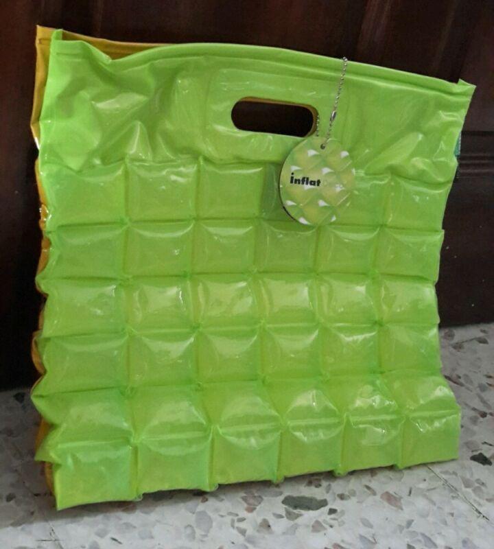 Inflatable Bubble Jelly Beach Bag / Tote. Duo Color Green / Yellow