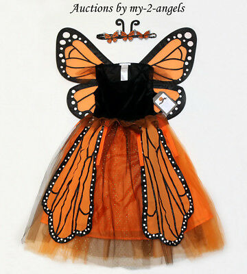 NEW Pottery Barn Kids MONARCH BUTTERFLY TUTU HALLOWEEN COSTUME 4-6 Girls Dress