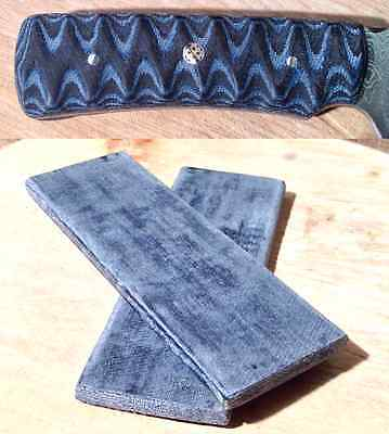 "Black & Blue Jean Denim Micarta Knife Scales Pair 5 1/2""x 2"" x 1/4"" Free S&H"