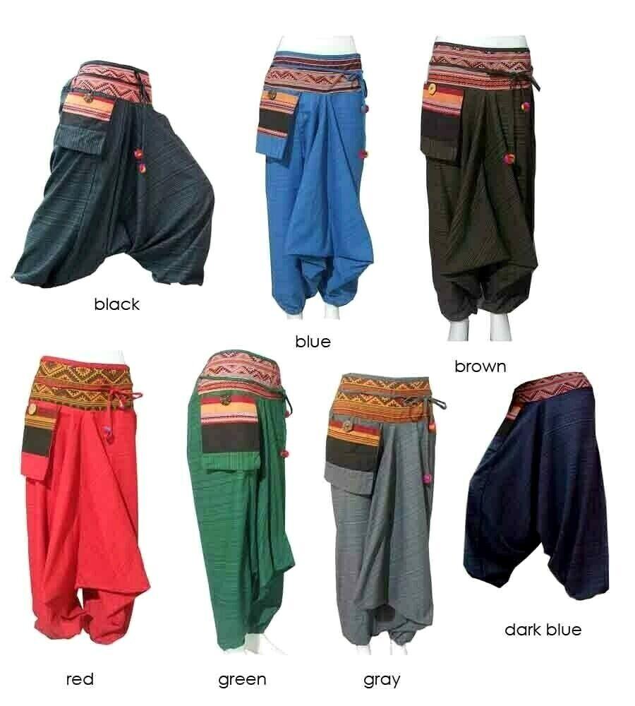 Women/'s Multi Patterned Harem Pants Hippie Hmong Baggy Gypsy Aladdin Hammer Boho