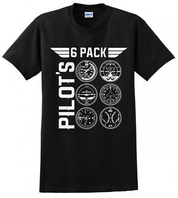 PILOT 6 PACK BEER AVIATOR AIRPLANE FLYER DRONE GEAR MENS FUNNY T-SHIRT