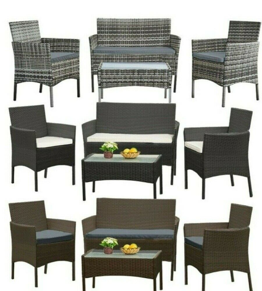 Garden Furniture - Garden 4 Piece Patio Rattan Wicker Furniture Set Table & Sofa Beige/Grey Cushion