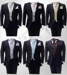 BOYS-5-PIECES-FORMAL-BLACK-WEDDING-SUIT-PAGE-BOYS-CRAVAT-SUIT-AGE-6-M-TO-15-YRS
