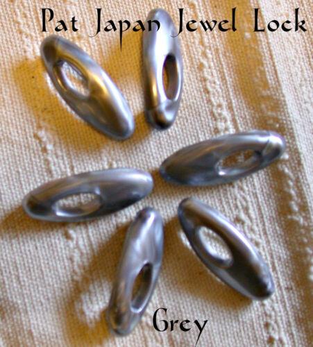 Six GREY Plastic Pat Japan Jewel Lock Hijab Muslim Scarf Snag Free Hijab Pin