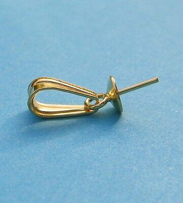 Kettenschlaufe mit Stift und Perlschale vergoldet 925 Silber Schmuckzubehör