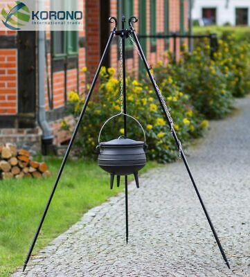 Dreibein Schwenkgrill Gartengrill Holzkohlegrill mit Kessel 6 L-Grilltopf- Stahl