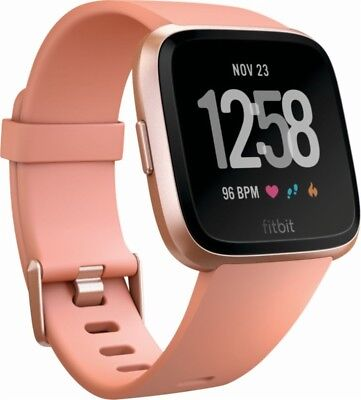 NEW Fitbit Versa Peach/Rose Gold Smartwatch (Small & Large Bands) Heart Rate