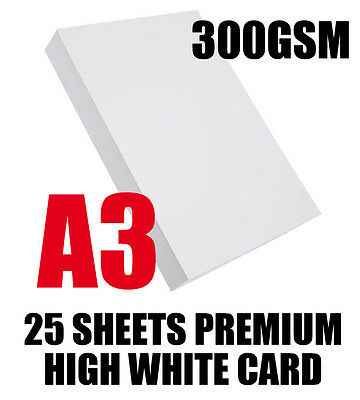 A3 PREMIUM 300GSM THICK WHITE CARD 25 SHEETS DECOUPAGE, CRAFTS & PRINT & SCHOOLS