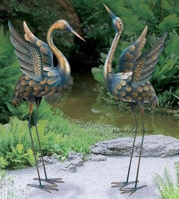Flying Garden Crane Pair Statue Outdoor Sculpture Heron Bird Copper Patina Metal