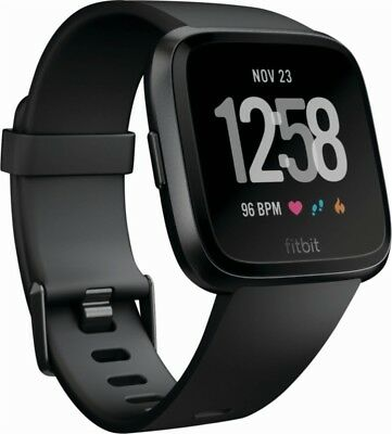 BRAND NEW Fitbit Versa Black Smartwatch (Small & Large Bands) Heart Rate Monitor