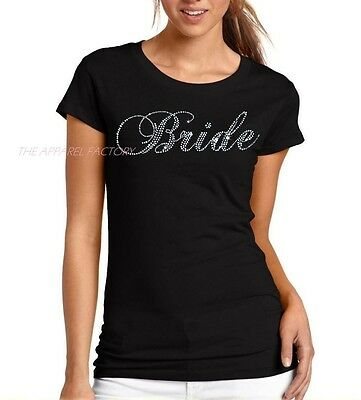 New Junior's Rhinestone BRIDE Black Fitted T Shirt Wedding Bridal bridesmaid