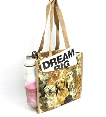 Dogs Tapestry Tote Bag Dog Breeds Purse Shopping Shoulder Bag Lined (Dogs Lined Tapestry Tote Bag)