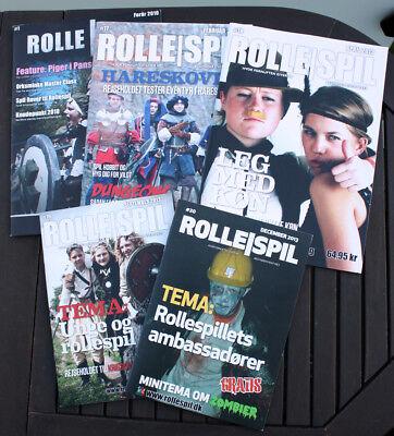 5 x ROLLESPIL #17 #18 #19 #20 #1- Hvor fornuften giver op - larp magazines - NEW
