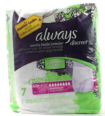 Always Discreet 7 Underwear S/M 115-190 LBS Sensitive Bladder Leaks Protection (Discreet Bladder Protection Underwear)