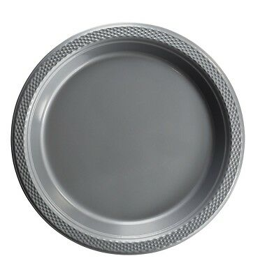 Silver Plastic Disposable Plates -Luncheon Dinner Party Premium Plate 7