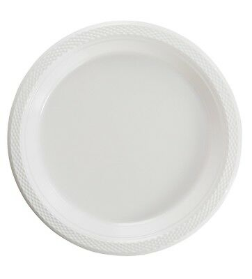 White Plastic Disposable Plates -Luncheon Dinner Party Premium Plate 7