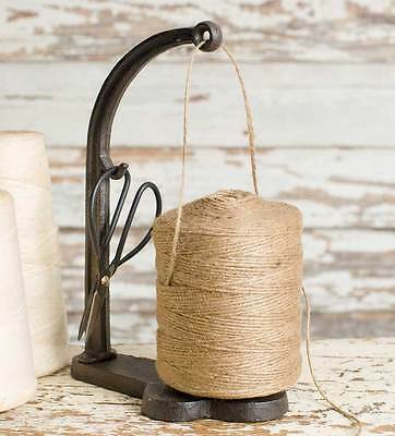 Vintage Inspired Cast Iron Jute String Twine and Shears Scissors Stand