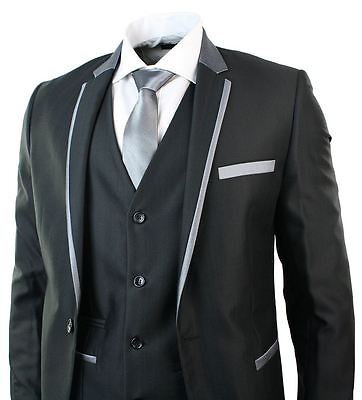 Mens Shiny Black 3 Piece Suit Grey Trim Fitted Wedding Party Prom 1 Button