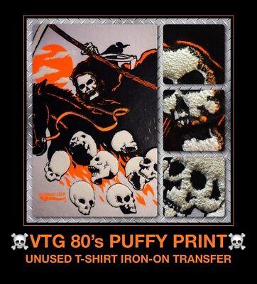 80s Grim Reaper Heavy Metal Punk Rock Skateboard Biker skull vtg t-shirt iron-on (80 Punk)