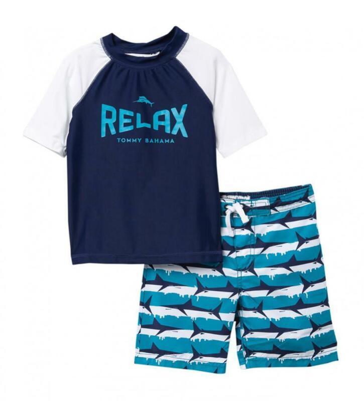 Tommy Bahama Boys Navy & Teal Relax 2pc Rashguard Set Size 4 5 6 7