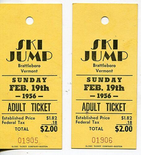 Pair (2) 1956 Brattleboro Vermont Ski Jump Tickets