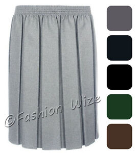 Ladies-Skirt-Womens-Pleated-Elasticated-Waist-Black-Grey-Navy-Navy-Formal-Office