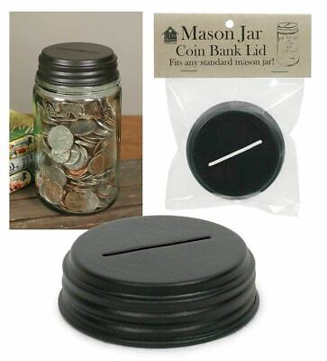 Rustic Country DIY Mason Jar Piggy Bank/  Coin Lid Brown