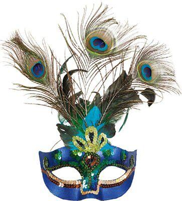 Damen Pfauenfeder Maskenball Mardi Gras Karneval Kostüm - Pfau Kostüm Maske