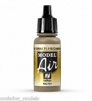 Vallejo Model Air Camouflage Grey RAL7027 71.118 17ml Airbrush Ready Paint