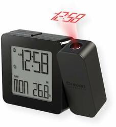 Projection Atomic Alarm Clock, Indoor Temperature Snooze Functions - Black