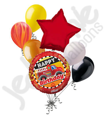 7 pc Fire Truck Happy Birthday Balloon Bouquet Party Decoration Red Fighter -