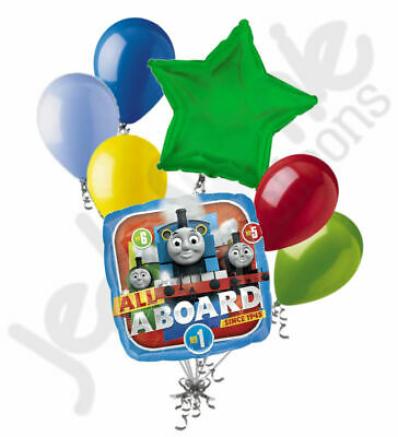 7 pc Thomas the Train Tank Engine Balloon Bouquet Party Decoration PBS Birthday (Thomas The Train Balloons)