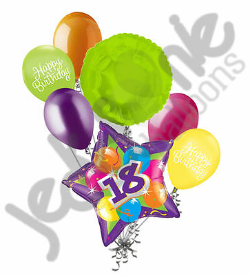 7 pc Bright & Bold 18th Happy Birthday Balloon Bouquet Purple Star Party Decor