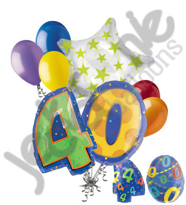 8 pc 40th Birthday Theme Balloon Bouquet Party Decoration Number Primary Color (40 Birthday Themes)
