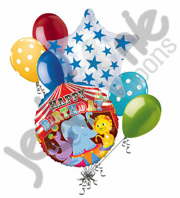 7 pc Circus Animals Happy Birthday Balloon Bouquet Party Decoration Elephant](Elephant Balloons)