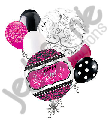 7 pc Pink Black & White Damask & Dots Balloon Bouquet Decoration Happy Birthday - Pink And Black Damask Party Supplies