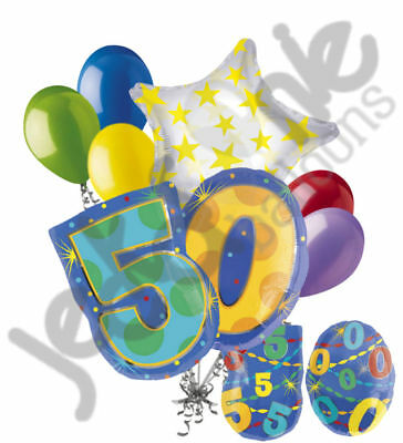 8 pc 50th Birthday Theme Balloon Bouquet Party Decoration Number Primary Color (50th Birthday Party Themes)