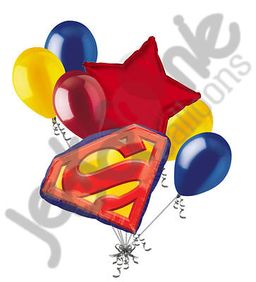 7 pc Superman Emblem Balloon Bouquet Party Decoration Happy Birthday Super - Superman Balloon