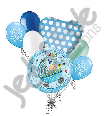 Welcome Home Baby Party Decorations (7pc Baby Boy Stroller Balloon Bouquet Party Decoration Welcome Home Rachel)