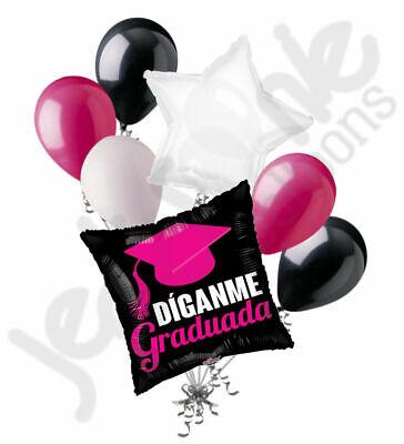 7 pc Hot Pink Díganme Graduada Balloon Bouquet Graduation Grad Congratulations](Congratulations Balloons)