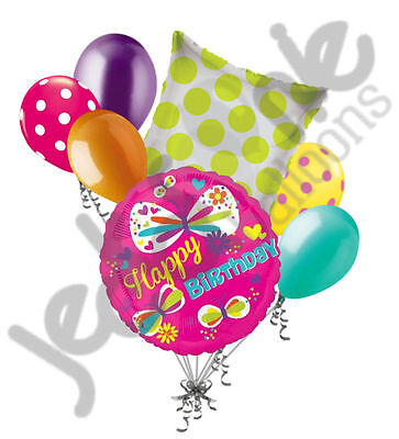 7 pc Bright & Colorful Happy Birthday Butterfly Balloon Bouquet Decoration Pink](Butterfly Balloon)