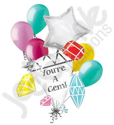 7 pc You're a Gem Balloon Bouquet Party Decoration Graduation Thank You Congrats - Thank You Balloon