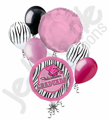 7 pc Pink Zebra Felicidades Graduada Balloon Bouquet Graduation - Congratulations Balloons