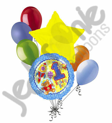 7pc 1st Birthday Boy Happy Birthday Balloon Bouquet Party Decoration Hugs (1st Birthday Boy Hugs)