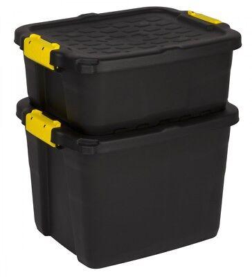 Großen Schwarzen Aufbewahrungsbox (2 x Aufbewahrungsbox Box Kunststoffbox Lagerbox Material Kiste Deckel 2 Größen)