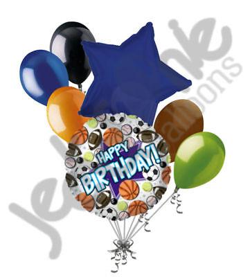 Basketball Birthday Decorations (7 pc Happy Birthday Sports Balloon Bouquet Party Decoration Football)